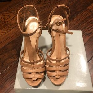 Jessica Simpson taupe wedge shoes